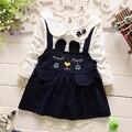 New chegou 2016 primavera outono camisa de manga comprida t + vestido de alça 2 pcs conjunto de roupas meninas bonitos do bebê roupas bebê recém-nascido menina terno