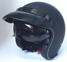 цена на Black Adult Open Face Half Leather Helmet Harley Moto Motorcycle Helmet vintage Motorcycle Motorbike Vespa