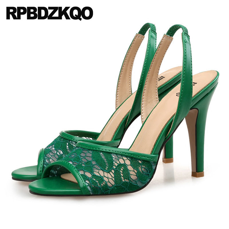 Stiletto Lace Fashion 11 Pumps Large Size Peep Toe Embroidery Designer Shoes Women Luxury 2018 Summer Sandals High Heels Green enmayer summer women fashion sandals pumps shoes rhinestone peep toe zip thin heels platform large size 34 43 black orange green
