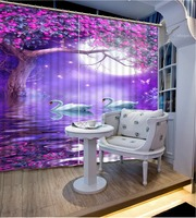 2016 Fashion 3D Home Decor Beautiful dream purple flower Curtain window room Home Decoration