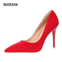 BUCKSHA 2019 High Heels for Women Stiletto Pointed Toe Pumps Ladies Blue Heels Woman Party Red Wedding Shoes bride