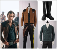 New fashion 2018 Movie Solo: A Star Wars Story Han Solo Cosplay Costume Khaki Jacket Pants Boots Halloween Carnival Christma