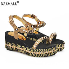 98bcd01cb9fa KALMALL Summer Rivet Studded Shoes Women Wedge Heels Plus Size EU34-43  Black Gold Silver