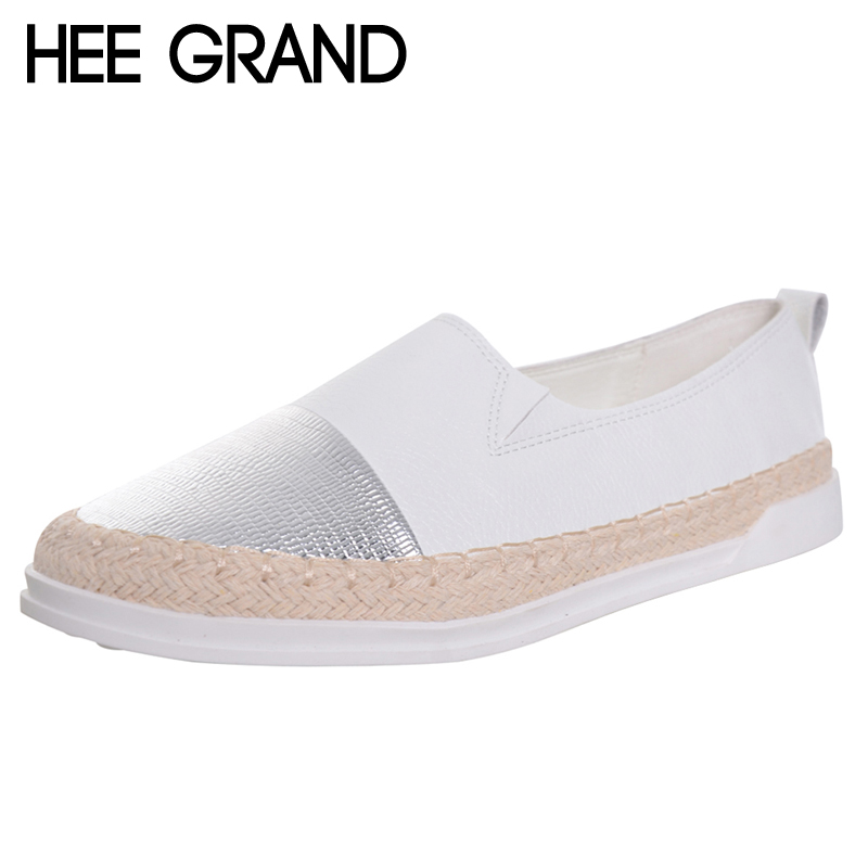 HEE GRAND Glitter Loafers 2017 Summer Slip On Flats Fisherman Shoes Woman Casual Spring Women Flat Shoes Plus Size 35-43 XWD4898 hee grand hemp loafers 2018 embroider fisherman shoes woman straw slip on casual flats platform women shoes size 35 41 xwd6317