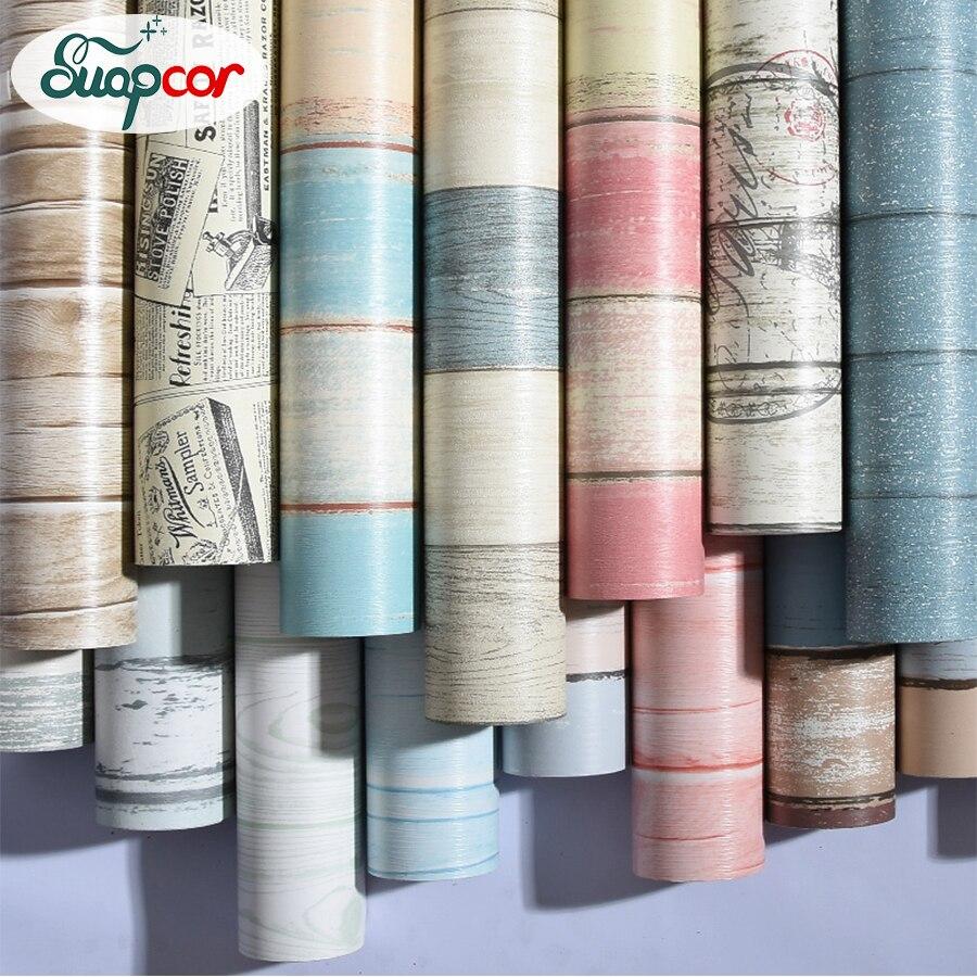 Bedroom Wall Paper PVC Self Adhesive Wallpaper Waterproof Tape Sticker Mediterranean Wood Striped Wall Stickers For Lliving Room