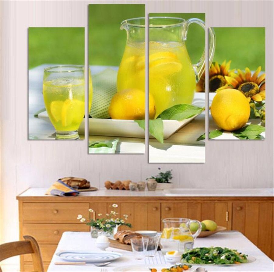4 Panel Modern Printed Fruits Lemon Painting Picture On Canvas Kitchen Decor Landscape For Living Room
