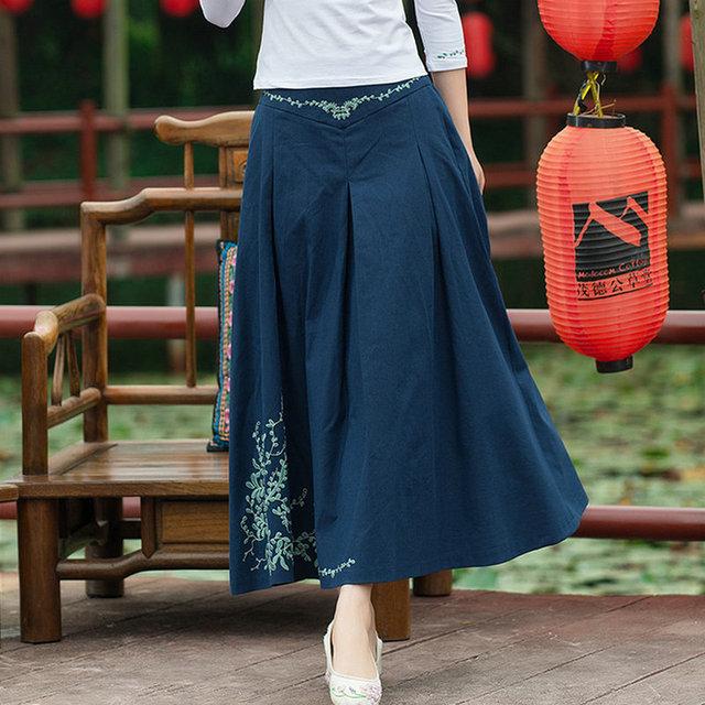 Nueva moda bordado de la alta cintura falda plisada mujeres casual nuevo a line diseño lápiz faldas primavera verano otoño