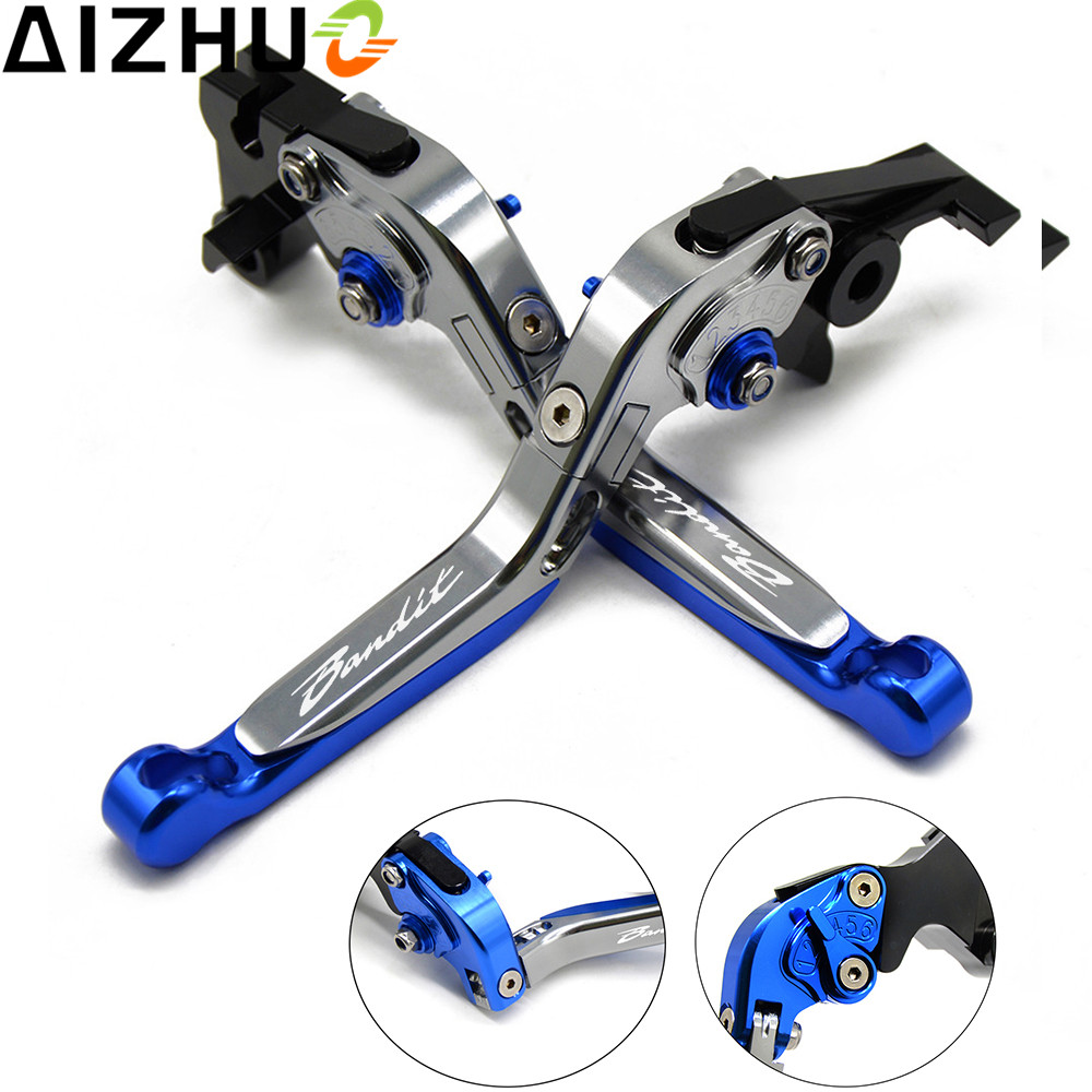 With Bandit LOGO Motorcycle Clutch Brake Lever Aluminum Extendable Adjustable For Suzuki Bandit 1200 2001-2006 1250 2007-2015 cnc 6 position folding foldable extendable brake clutch lever for suzuki bandit 1200 2001 2006
