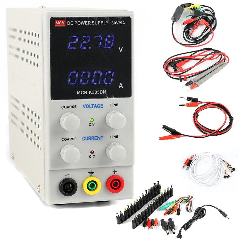 MCH-K305DN laboratoire DC alimentation numérique réglable 30 V 5A alimentation à découpage 0.01 V 0.001A + DC Jack Set