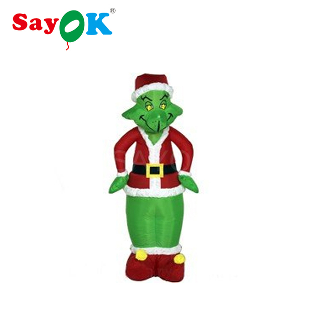inflatable christmas grinch as santa 10 feet tall christmas decorations with led light for store home