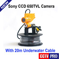 Only Underwater Fishing Camera CCD 650TVL 12Pcs White Light Leds Night Vision Camera One Stick + 20m Cable Work With Fish Finder