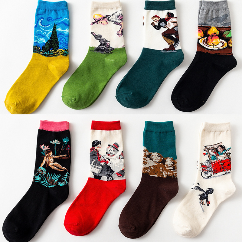 2019 New Thickened Warmth Vintage Socks Oil Painting Series Van Gogh Venus Tube Socks Art Abstract Cotton Socks For Man Women