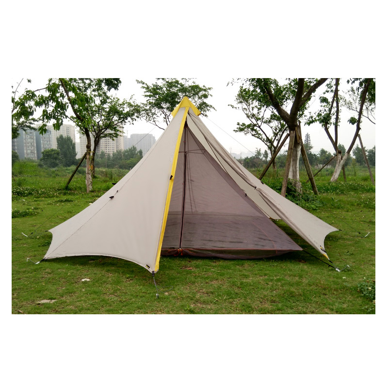 Camping Bottomless  inner Tent Ultralight 3-4 Person Outdoor 20D Nylon Sides Silicon Coating Rodless Pyramid Large Tent 3 Season 1240g camping tent ultralight 6 8 person outdoor 20d nylon both sides silicon coating rodless large space tent triangle 4 season