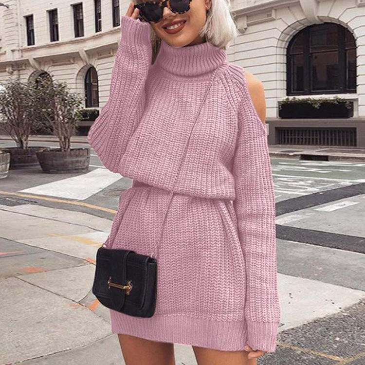 Danjeaner Autumn Winter Turtleneck Off Shoulder Knitted Sweater Dress Women Solid Slim Plus Size Long Pullovers Knitting Jumper 6