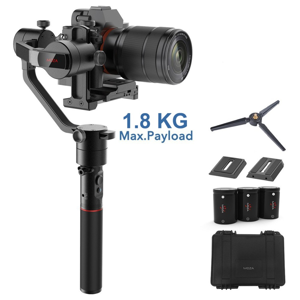 MOZA AirCross 3-Axis Gimbal Stabilizzatore per Mirrorless Macchina Fotografica fino a 1.8 kg, 12 ore di Run-time, Time-lapse, per Sony A7SII, Pana GH5