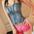 New Fashion 2016 Women Vintage Classical Cropped Tops Sleeveless Denim Shirts Casual Slim Vest Sexy Ruffles Jean Tops Clothing