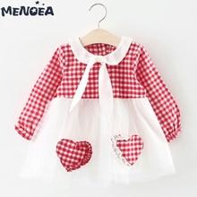 Menoea Baby Dresses New Baby Girls Dress Cute Love Plaid Princess Dress Spring Long Sleeve Kids Clothes 6M-24M Baby Clothing