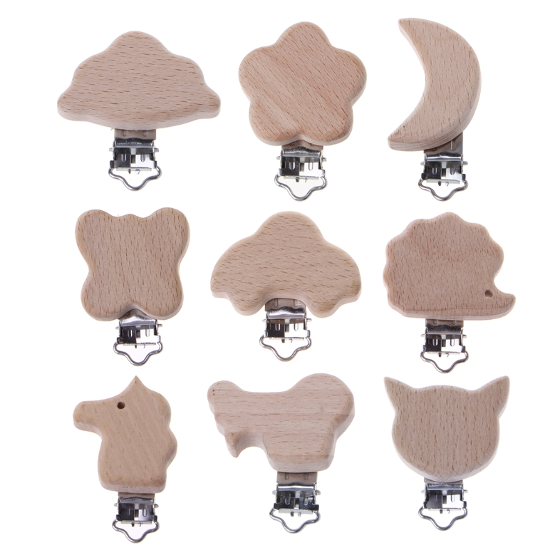 Hot New 1 Pc Baby Pacifier Clip Of Cartoon Animals Beech Wood Dummy Clips DIY Pacifier Chain 9 Styles High Quality