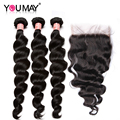 7A Grade 5X5 Lace Closure With Bundles Malaysian Virgin Hair Loose Wave Lace Closure With Hair Bundles Malaysian Loose Wave Hair