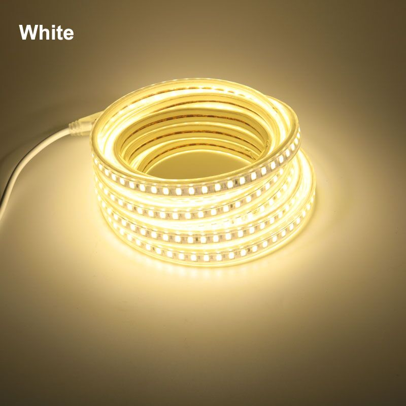 5730 120 Led/m LED Strip Light 220 V 3000K 4000K 6000K Flex Ribbon Tape Lamp Band Tube EU Cord For Kitchen Home Lighting
