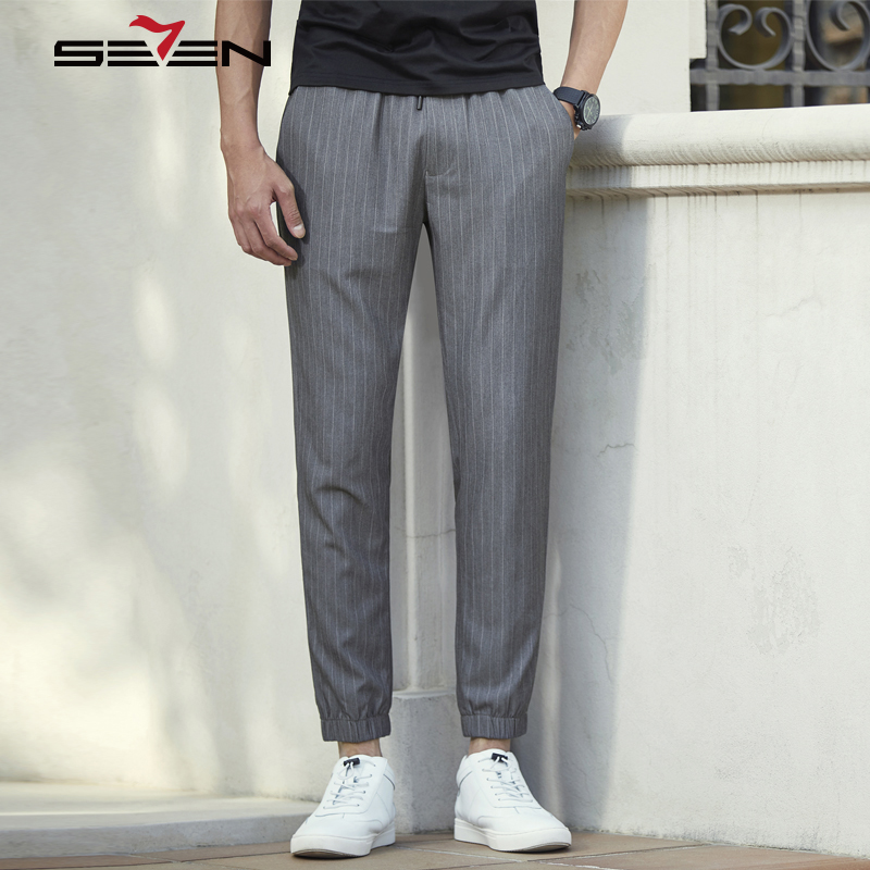 Seven7 Brand 2018 Spring Summer Casual Mens Striped Harem Pants Plus Size Lightweight Men Jogger Fitness Male Trousers 114S88070 plus size striped harem pants