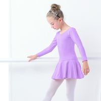 Baby Kid Pink Cotton Long Sleeve Ballet Leotard Dress Girls Ballet Practice Dress Ballet Dress