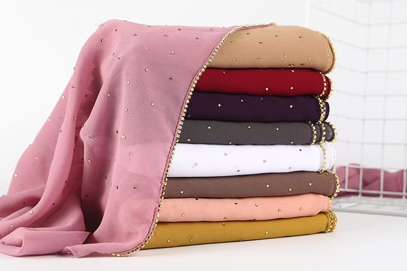 50pc lot women shinny plain chains with crystal scarf and shawl muslim scarf bubble chiffon soft