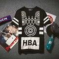 Japonés Campana por Aire HBA hombres 2016 Nuevo Verano y Otoño afluencia de HBA Hba Camiseta Masculina Calle Suelta Los Amantes de la Camiseta Negro
