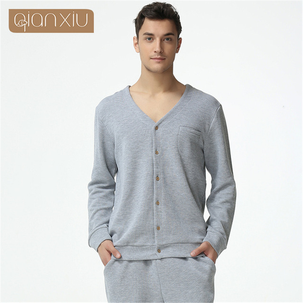 Qianxiu Pajamas V-neck Long-sleeve Cotton Lounge Wear Couples Pajamas Set Men Sleep & Lounge Couple Pajama Sets Fashion