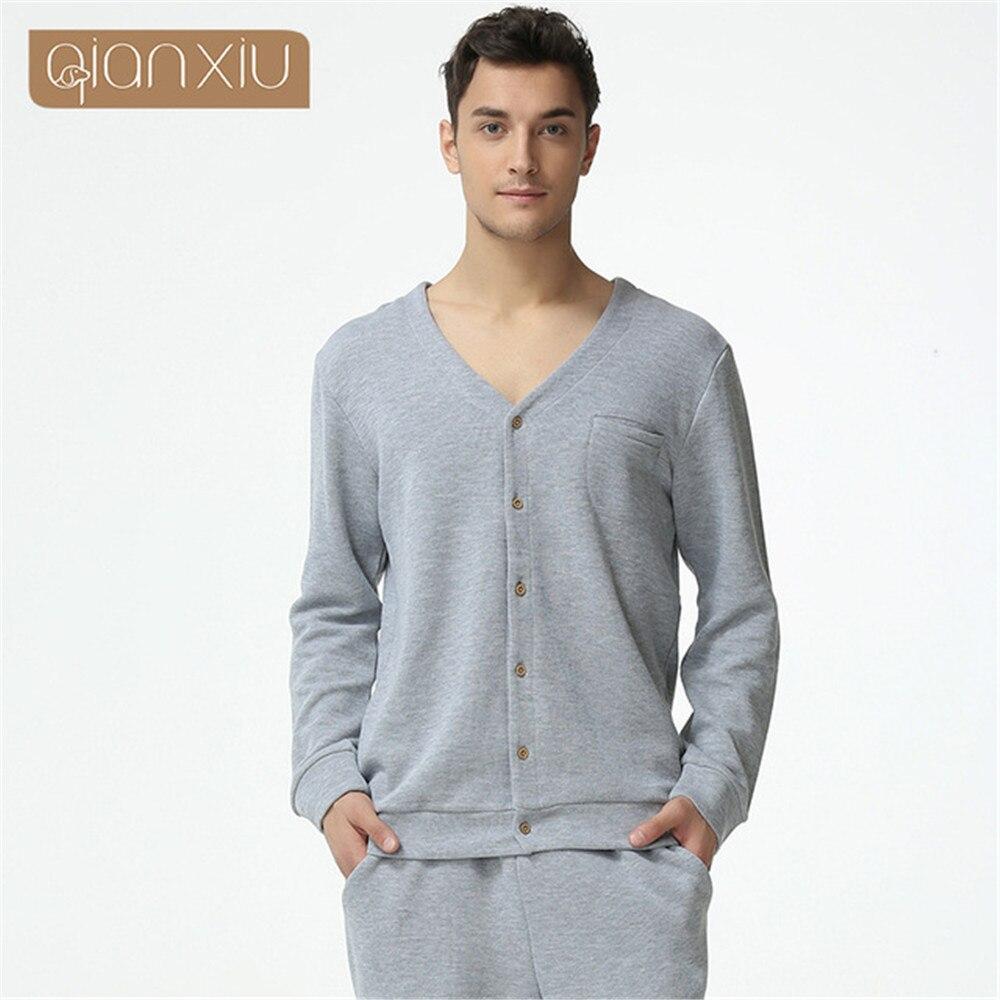 Qianxiu Pajamas V-neck Long-sleeve Cotton Lounge Wear Couples Pajamas Set Men Sleep & Lounge Couple Pajama Sets Fashion
