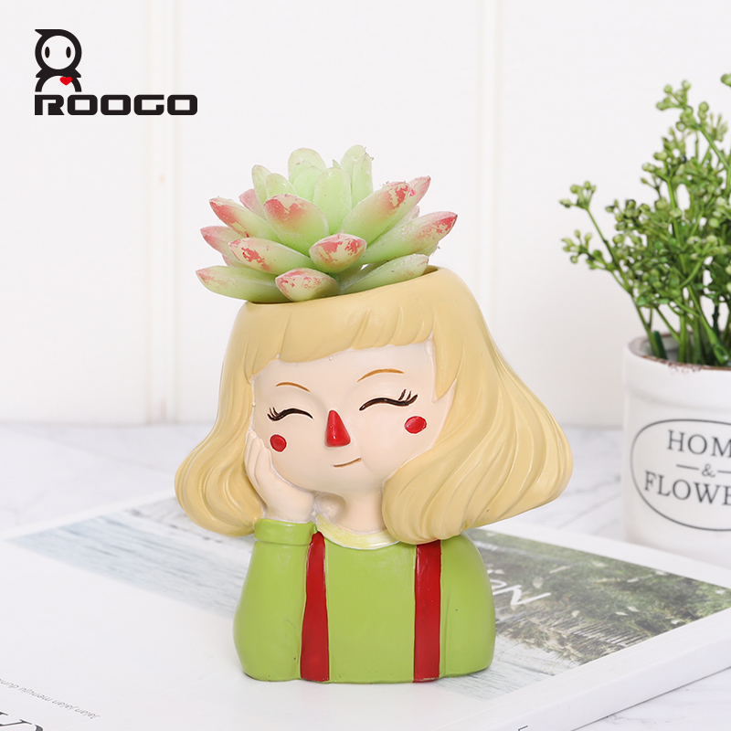 Image 2 - Roogo Ghost Horse Girl Flowerpot Playful Flower Pot For Home Garden Cute Succulents Plant Pot Decorative Flowers Pot-in Flower Pots & Planters from Home & Garden