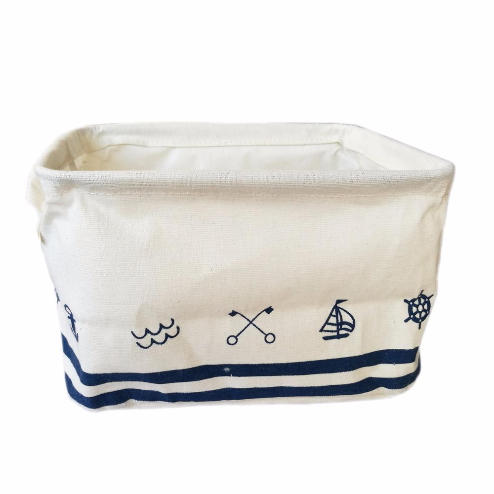 new Folding Cotton and linen desktop storage box makeup organizer basket Cosmetics case tools box underwear organizer for bra