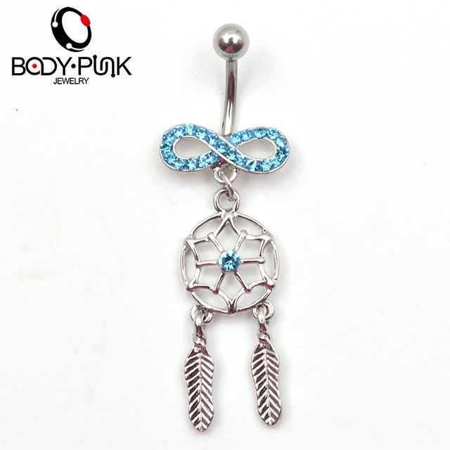 Blue Dream Catcher Belly Button Ring Body Piercing Jewelry Blue CZ Infinity Dream Catcher Navel Dangle 5