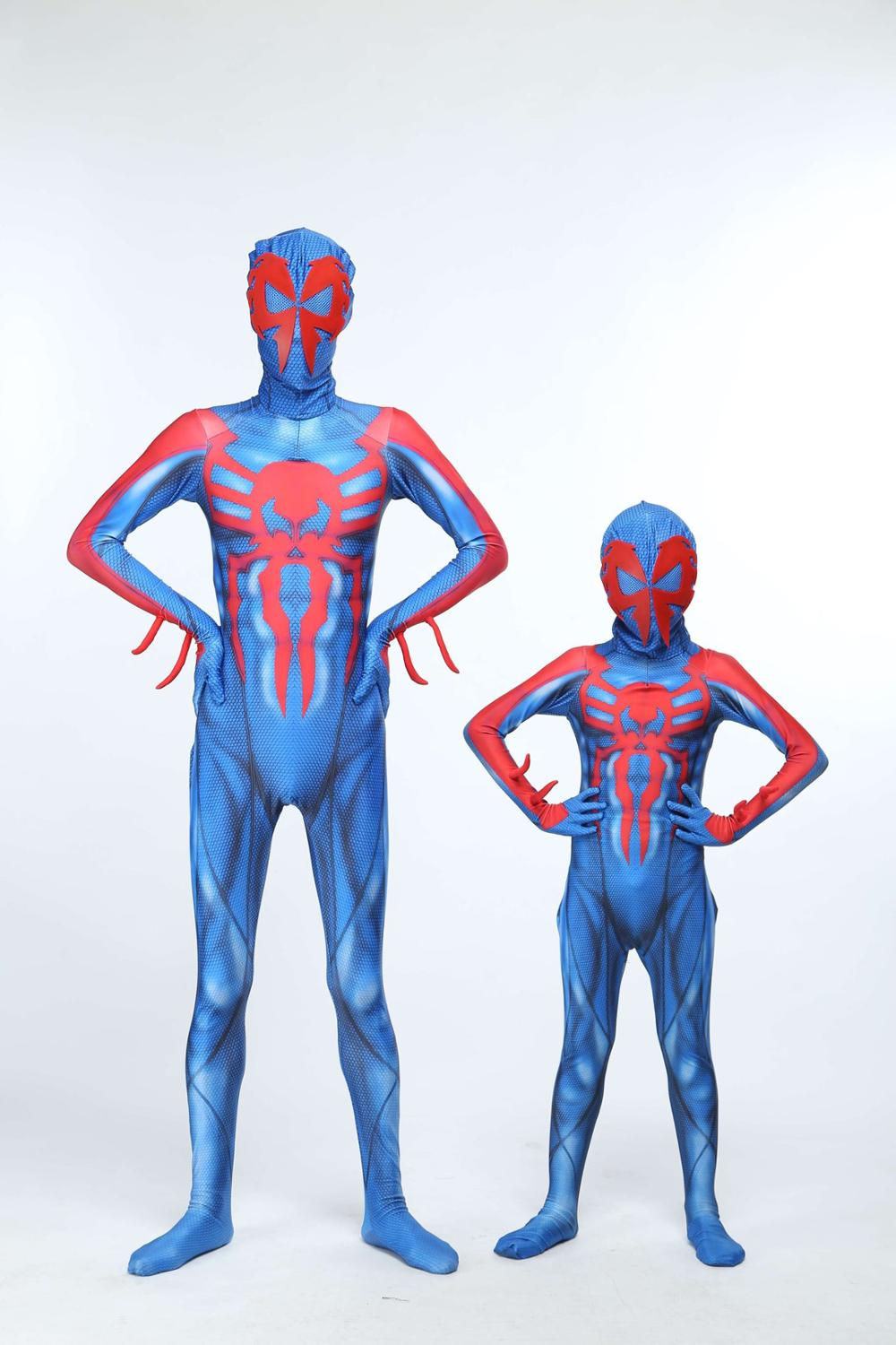 Spider-Man 2099 Miguel O'Hara Cosplay Super Hero Spiderman Costumes Fullbody Zentai Suit Adult Kids Jumpsuit Long Sleeve Rompers