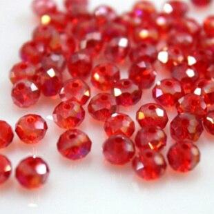 Isywaka разноцветные 4*6 мм 50 шт Австрийские граненые стеклянные бусины Rondelle, круглые бусины для изготовления ювелирных изделий - Цвет: Red AB