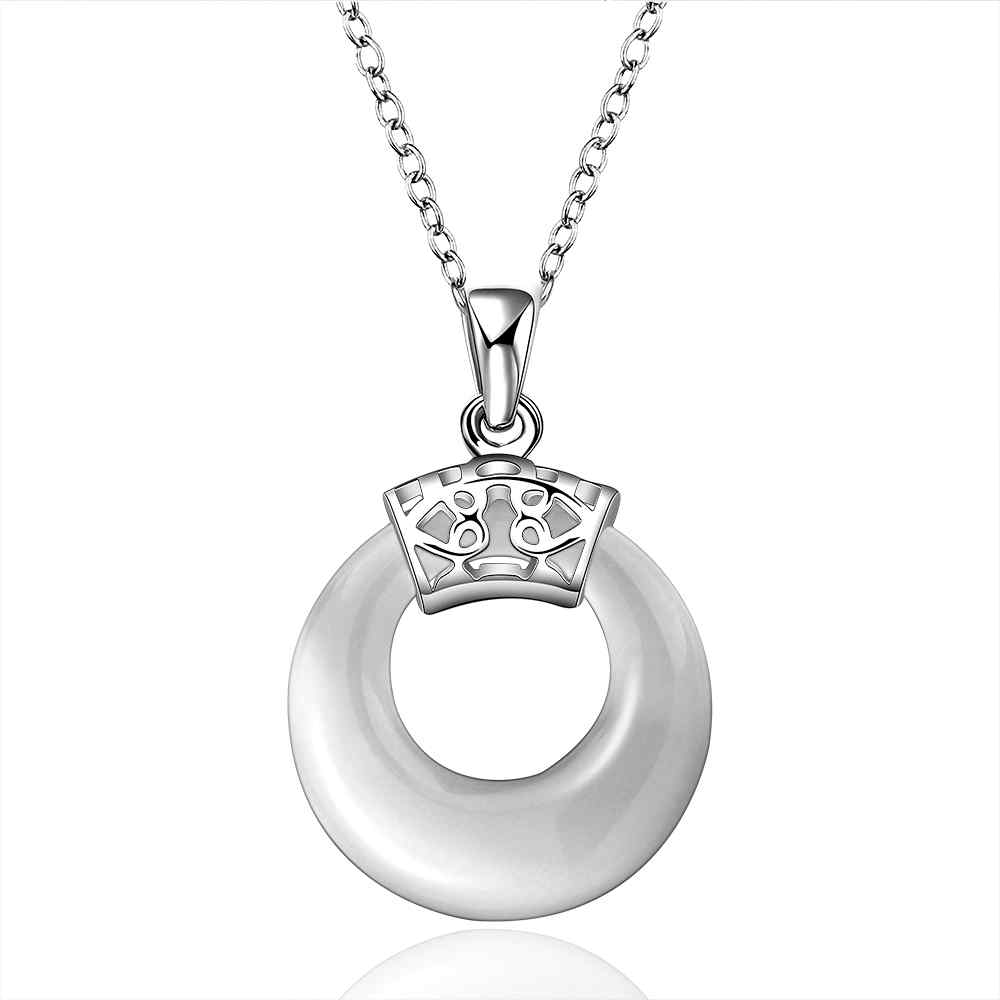 Free Shipping Newest silver pendants circle round Zircon opas