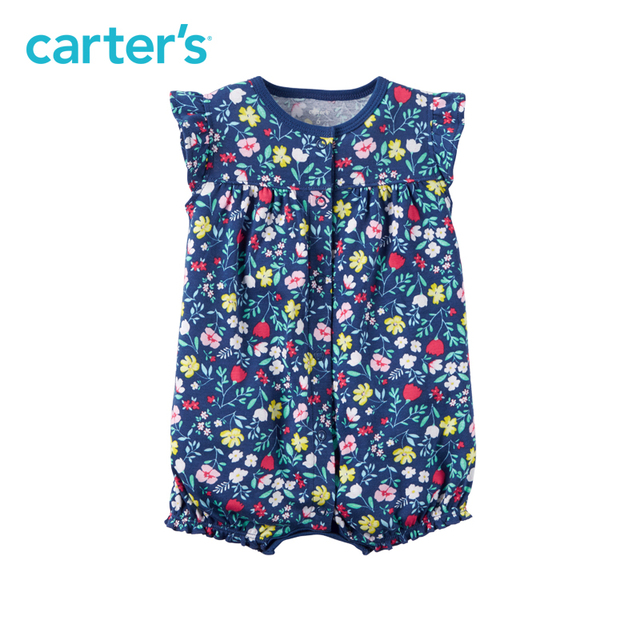 b868b7eeb0510 Carter's 1pcs baby children spring summer girl clothing kids Allover floral  print Snap-Up Cotton Romper 118H298