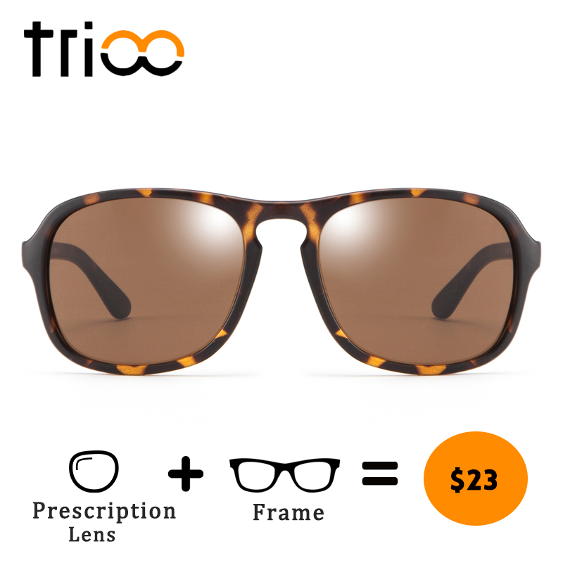 TRIOO Tortoise Myopia Reading Glasses Unisex Style Square Prescription Sunglasses Diopter Brown Lens Driving Eye glasses Diopter