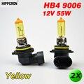 Hippcron 2 x желтое стекло HB4 9006 галогенные лампы 12 В 55 Вт P22d Автомобильные фары автомобильные лампы