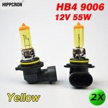 Hippcron 2 lâmpadas automotivas, 2 x, vidro amarelo, hb4, 9006, lâmpadas de halogênio, 12v, 55w, p22d, luzes para carro