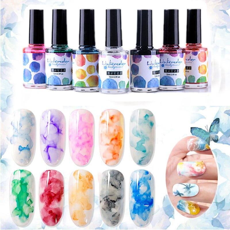 1 шт., сделай сам, акварельные чернила, лак для ногтей, гель с рисунком цветения, дымоуловитель, лак для маникюра, украшение для ногтей, мрамор...