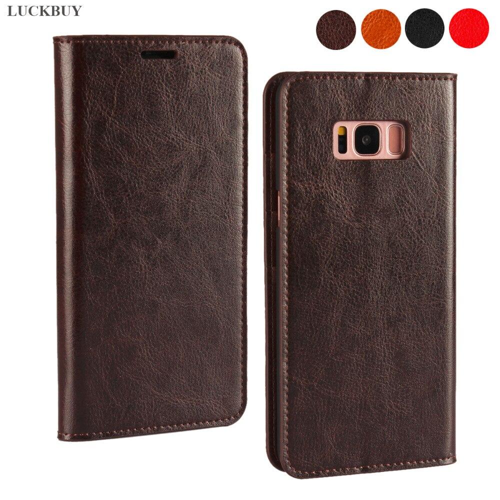 LUCKBUY Hot Genuine Leather Case Book para Samsung S8 S8 Mais Clássico de Negócios Do Caso Da Aleta PARA funda Samsung Galaxy S8 /S8 Plus