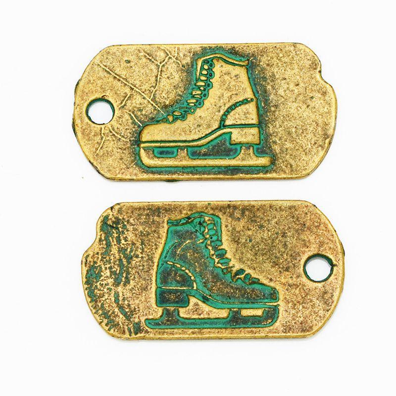 33 18mm Newest Skates Pattern Aerugo Alloy Charms font b Patine b font Pendants Antique Bronze