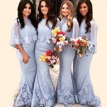 Elegant Light Lavender Mermaid Lace Bridesmaid Dresses 2017 with Shawl Bolero Maid of Honor Gowns Prom