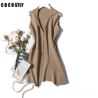Autumn V Neck Sleeveless Long Women Cardigan Sweater Vest Wool Knitted Cardigan Outerwear Khaki Mujer Slim Waistcoats