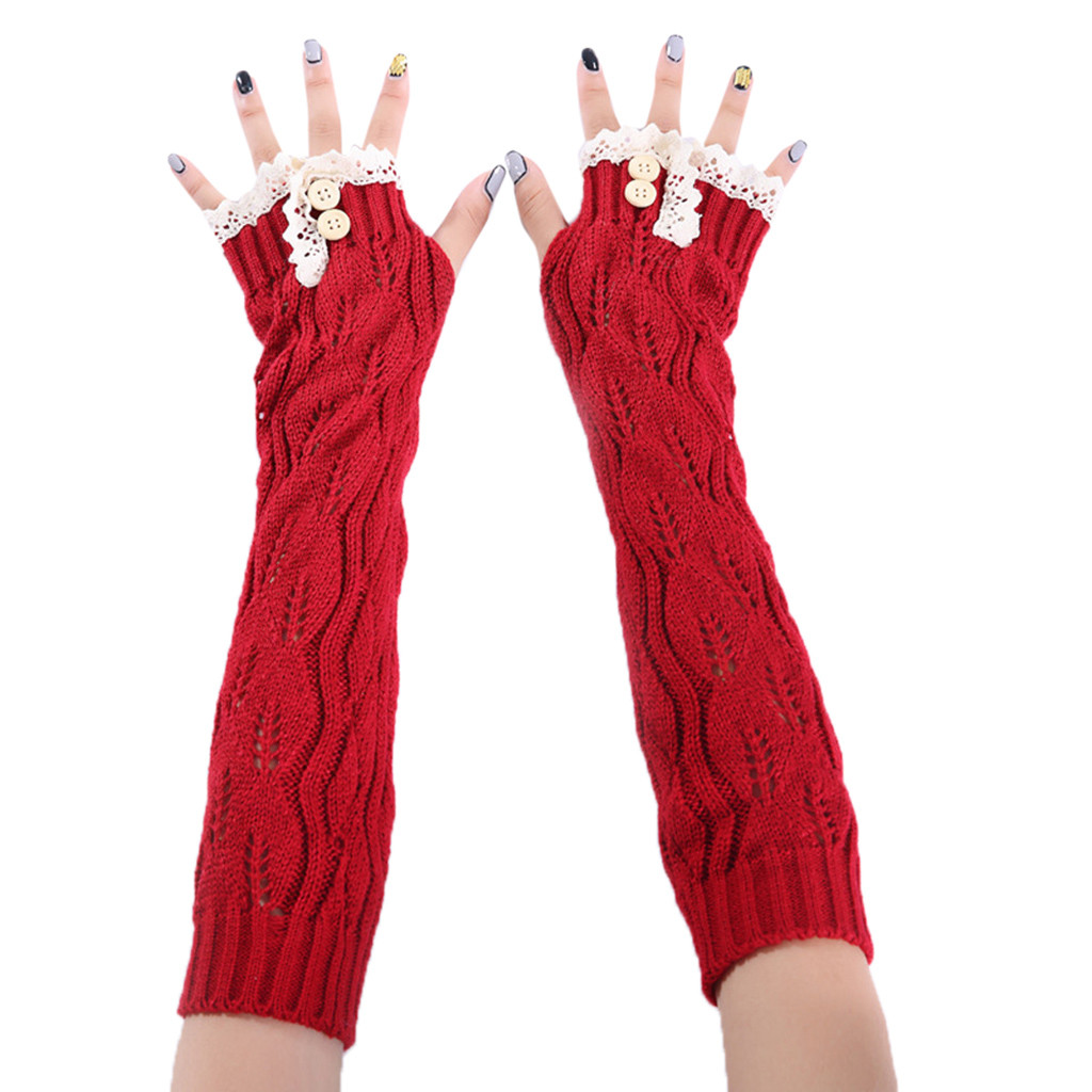 1 Pair Fashion Women Winter Wrist Arm Warmer Solid Knitted Lace Long Fingerless Gloves Mitten High Quality Free Shipping 18Nov