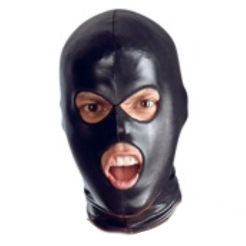 Solid Black Breathable PU Leather Head Mask Bondage Role