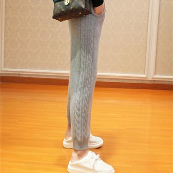 2019 kobiet jesień i zima modne ciepłe legginsy kobiece elastyczne kaszmirowe spodnie na co dzień kobiety szare modne prążkowane spodnie tanie i dobre opinie Wełna Kaszmiru Pełnej długości REGULAR Dzianiny Elastyczny pas Kieszenie Stałe Mieszkanie Ołówek spodnie 4582 NoEnName_Null