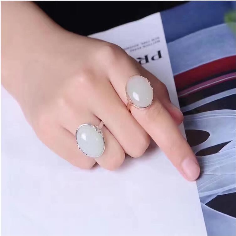 Natual Jade ring Free shipping Natural real Jape 925 sterling silver 15*20mm Fine jewelry