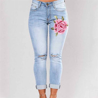 Venda quente Do Vintage Das Mulheres Calças Skinny Slim Canto Bordados Pequenos Pés Elástica Jeans Boyfriend Jeans Para As Mulheres